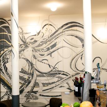 Illustration murale A&M bar